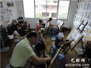 美术培训班学员上课