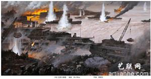蔡循生油画《1938宜昌大撤退》