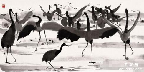 ——《文心画眼》 吴冠中   一群鹤在走,跃,舞,翔……题名《鹤舞》